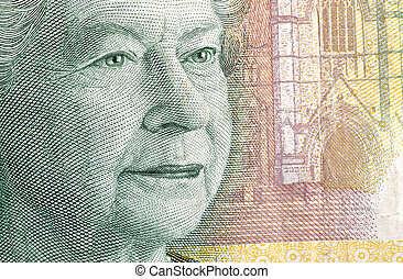Queen Mother on a $20 bill-macro detail