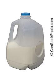 Half a Gallon of milk - Half Full Milk Bottle, isolated,...