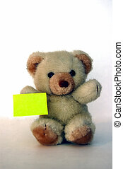 Teddy with a message - Teddy bear holding a message,...