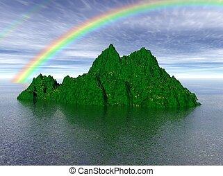 Green Isle - Raytraced isle with rainbow