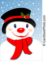 Smiling Snowman - Smiling snowman wearing a black hat and...
