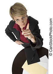 businesswomen - business women pointing with finger on white