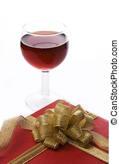 Wine and Gift Box - Red wine and red gift box with golden...