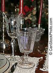 Crystal Glasses - Two crystal glasses at formal table...