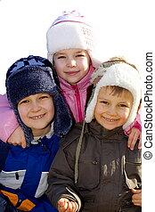 happy family - children on winter