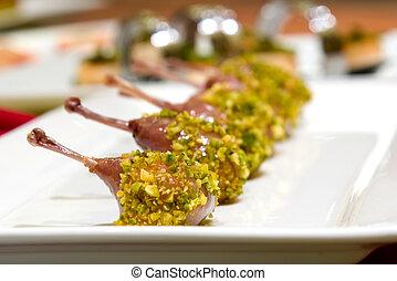 Pistachio Crusted Quail Ballotine - Pistachio crusted quail...