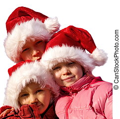 little santa clauses - sister with brothers