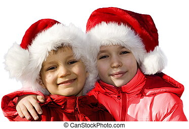 santa clauses - sister with brother