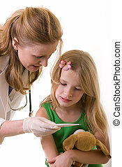 checking body temperature - Lady doctor and eight year old...