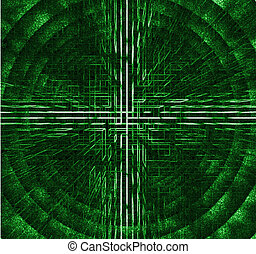 Cyber Tunnel - an abstract geometry with light and green...