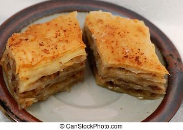 Baklava - Two pieces sweet dessert baklava on a plate
