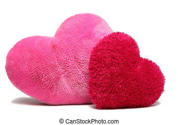 Sweet Valentine - Red and pink soft hearts on a white...