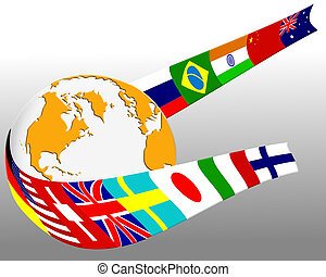 Globe and flag - Major country flags wrapped around globe...