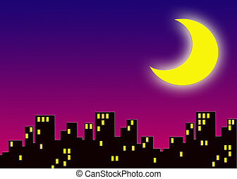 city - an illustration of city buildings at night with large...