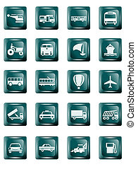 Transportation - Buttons of flights, automobiles, ships and...