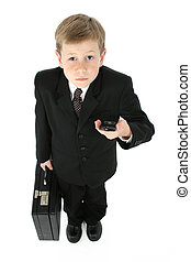 Little Business Man - Eight year old boy in suit and tie...