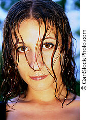 Wet Haired Girl - Head shot of girl with wet hair