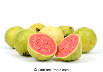Guava Fruit over white background