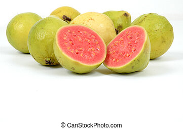 Guavas - Guava Fruits over white background . .