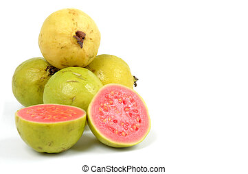 Guava - Fruit Guava  over white background . .