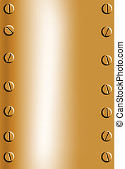 copper metal background with bolts in corners