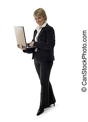 business women standing with laptop on white