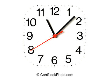 clock close up on white useful for background