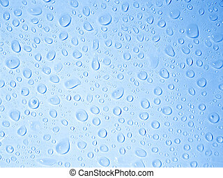 Crystal clear water drops - Water drops background - blue...