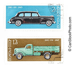 Post stamps with cars from Soviet Union