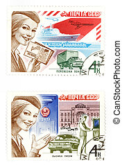 Old USSR post stamps - Obsolete postage stamps from USSR Old...