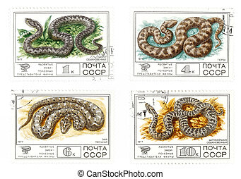 vieux, URSS, courrier, timbres, serpents