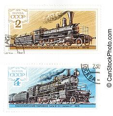 URSS, affranchissement, timbres, trains
