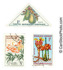 Gabon post stamps with plants - Obsolete postage stamps from...