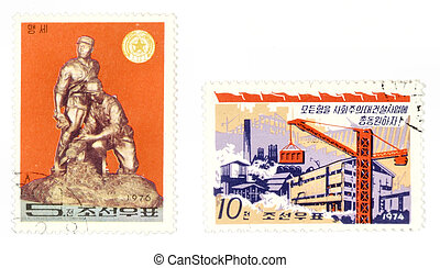 North Korean historic post stamps