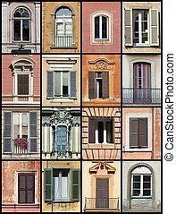 antigas, janelas, colagem