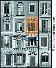 Unique window - architecture collage - Beautiful old...