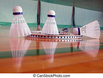 Indoor badminton - Image of few shuttlecocks and a badminton...