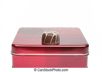 Chocolate on a red box