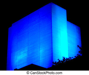 Blue light - Square building with abstract blue light