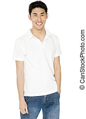 Casual Asian Male - A young asian male adult in white...