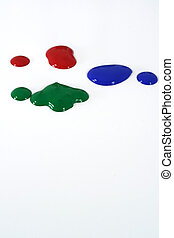 Paint Drops - Primary colored paint splatters on white