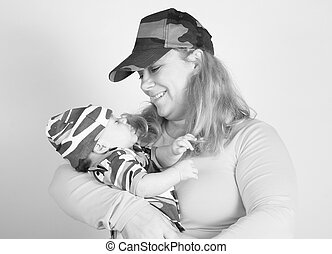 holding a baby