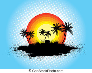 Grunge palm trees - Silhouettes of palm trees on grunge...