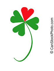 Valentine clover with one red and three green leaves, object...
