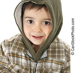 Boy with Hooded Jacket - Toddler boy wearing green hooded...