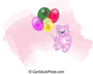 Bear and Balloons - Cute Teddy Bear with transparent...
