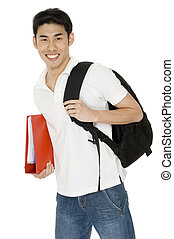 College Student - A young asian student with ring binder and...