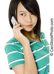 電話, 女孩, 亞洲人