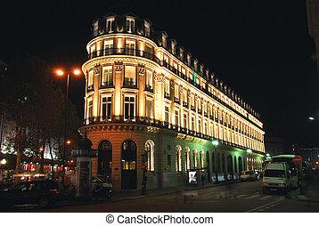 Night Paris - Illuminated building in Paris France at night