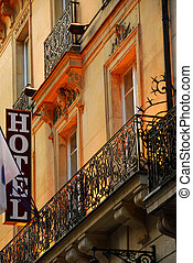 Paris hotel - Hotel building in Paris France with wrought...